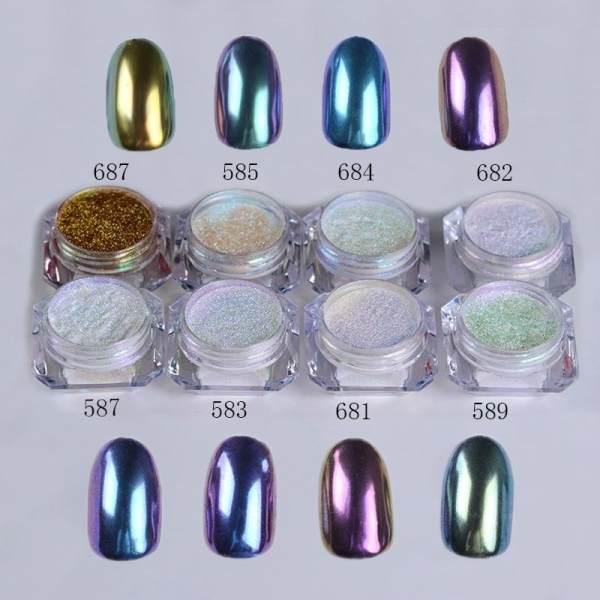 Women Nails Glitter Powder Nail Art Shinning Sticker(Style: 681 ...
