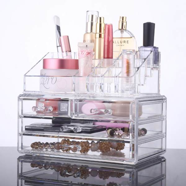 Xsential Acrylic 4 Drawers Makeup Jewelry Cosmetic Organizer ...