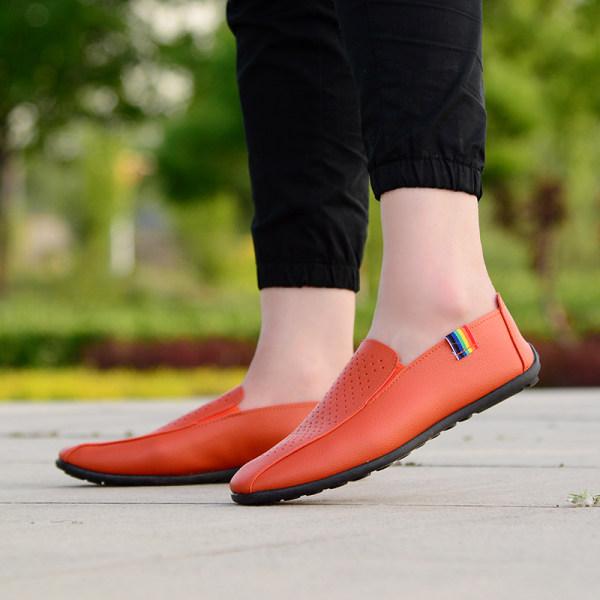 Korean-style summer breathable British casual shoes moccosins (Mens + Porous moccosins orange) Philippines