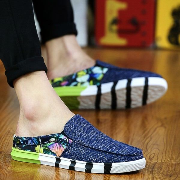 Lazy Korean canvas foot covering springs shoes moccosins (Blue) (Blue) Philippines