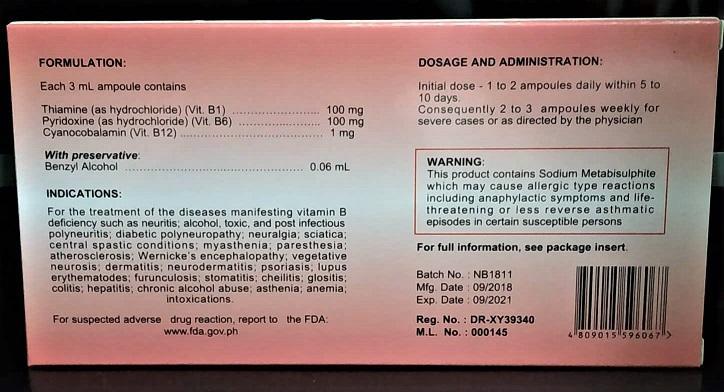 Vitamin B Complex B1+B6+B12 NEUROBE for IM/IV (3mL 10 ampoules) FDA Approved