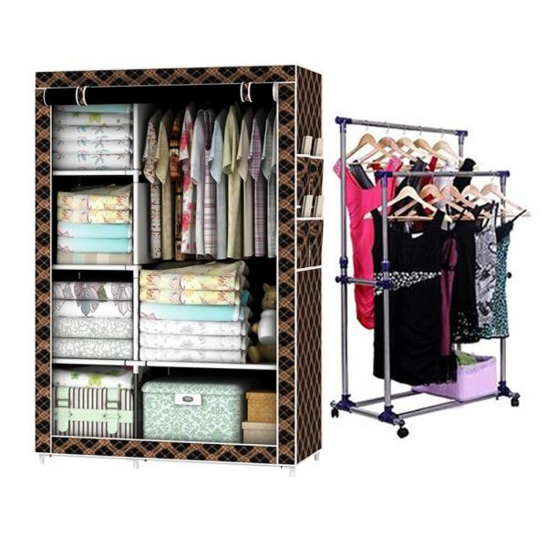 Ju0026J High Quality Fashion Storage Wardrobe (Chocolate Pattern) With  Adjustable Double Pole Clothes Rack Philippines