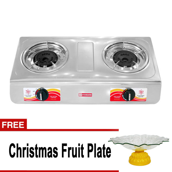 standard sgs234s double burner gas stove silver with free