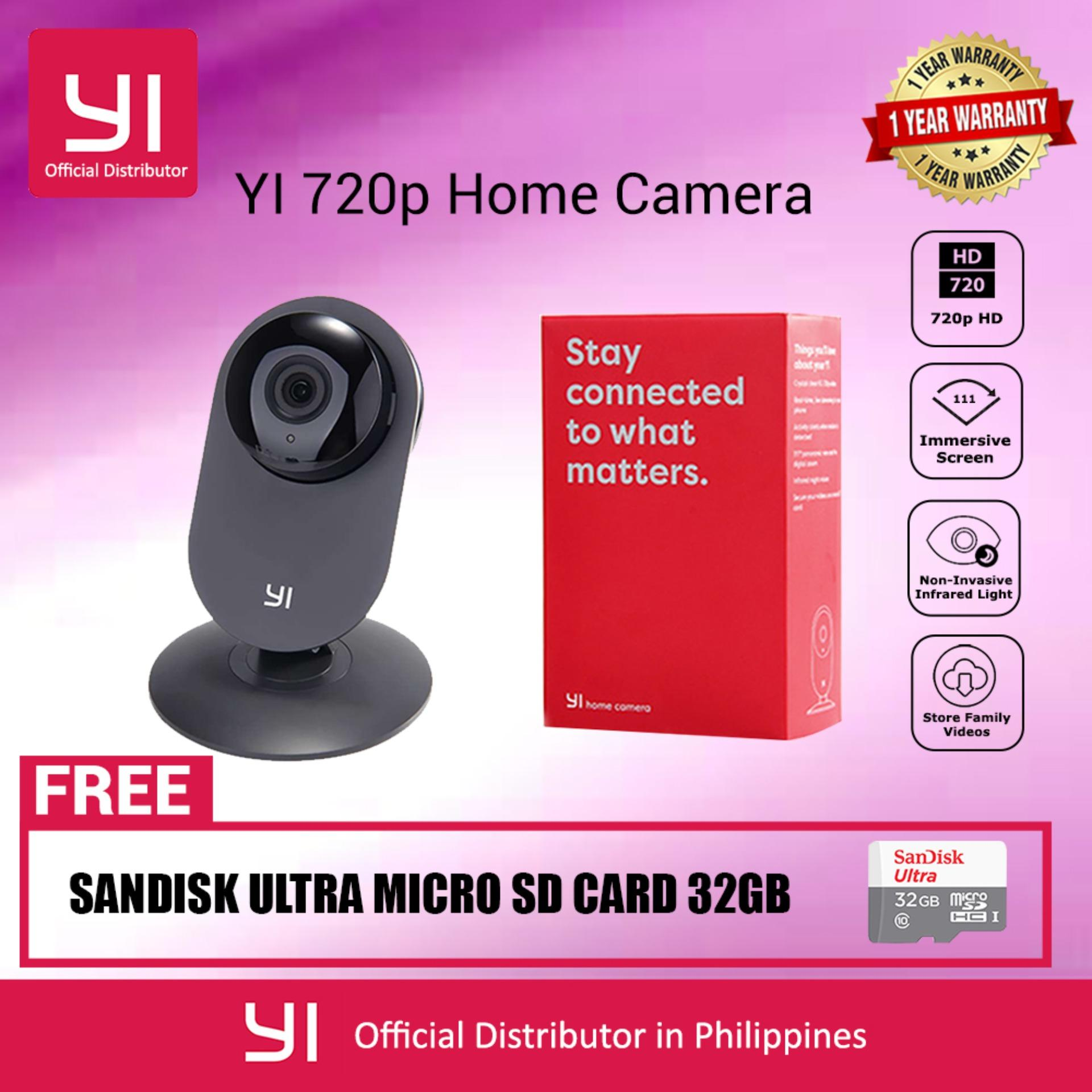 YI Home Camera IP Cam CCTV Monitor 720P HD Video Monitor IP Wireless Network Surveillance Security Night Vision Alert Motion Detection EU/US Version with SanDisk 32GB Micro SD Card