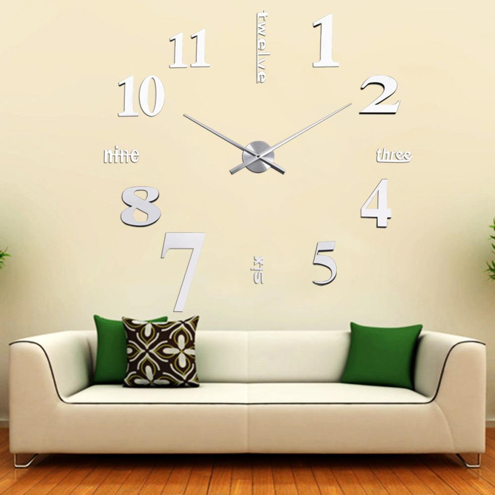 YBC DIY 3D Art Large Acrylic Mirror Wall Clock for Living Room ...