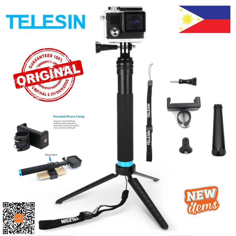 ac29aede69dea9 TELESIN Waterproof Selfie Stick with Floating Hand Grip 3-Way Grip Arm  Tripod Mount Monopod Telescopic Selfie Pole ...