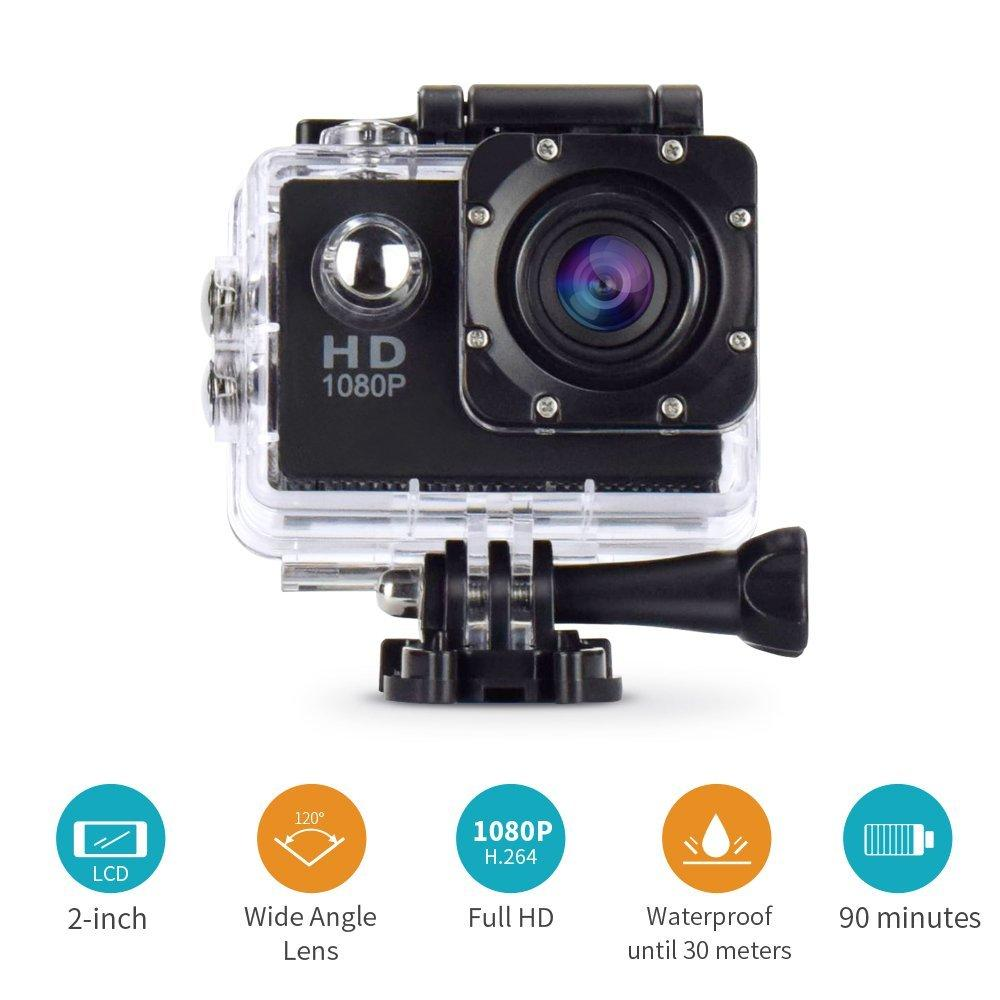 1080P HD 12MP Waterproof Action Camera, Sports Cam - Black