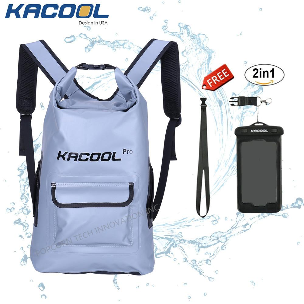Kacool Pro Waterproof 25L Beach Dry Bag Hiking Backpack School Bag with free Waterproof Mobile Phone Case image on snachetto.com