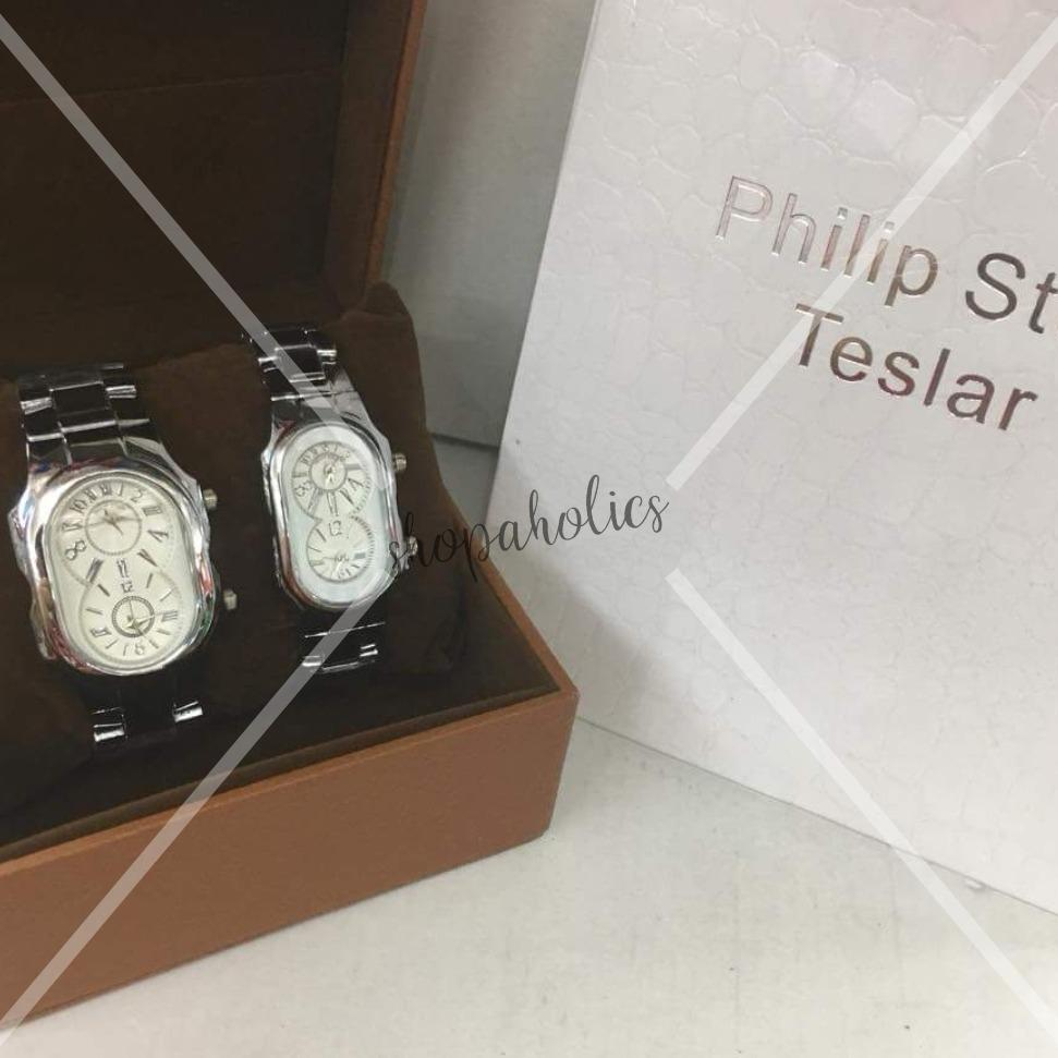 Philip Stein White Dial Gold Tone Stainless Steel Watch for Couple