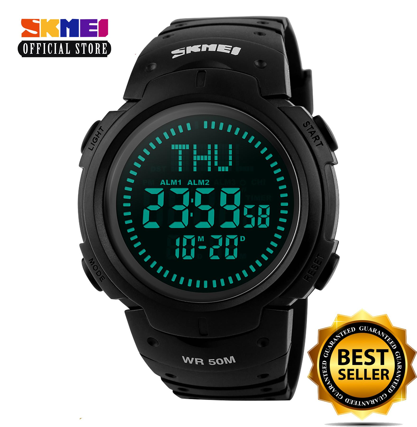 SKMEI 1231 (Black) Outdoor Sports Compass Watches Hiking Men Watch Digital LED Electronic Watch Man Sports Watches Chronograph Men Clock