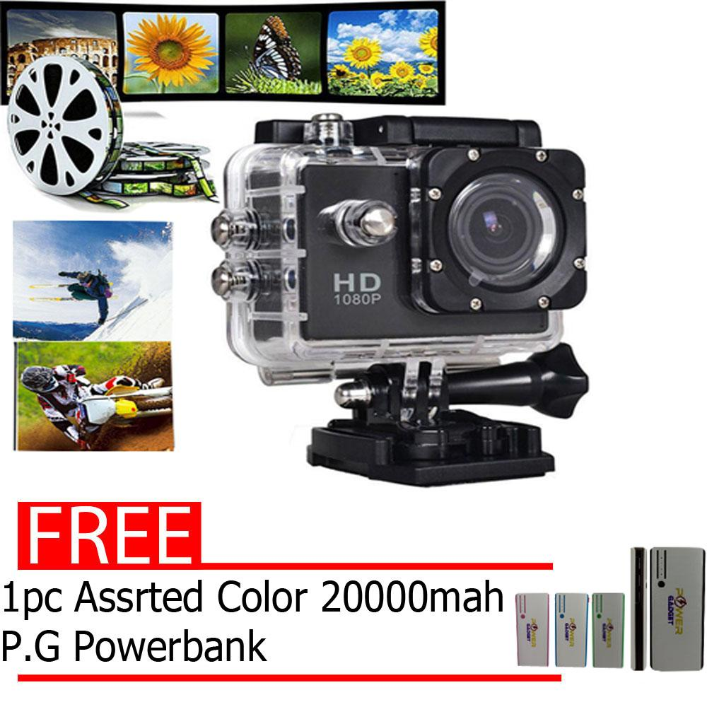 A7 Ultimate Sports Action Camera 1080p HD Under Water Extreme (Black) with free 1 pc assrtd color 20000mAh P.G. Power bank