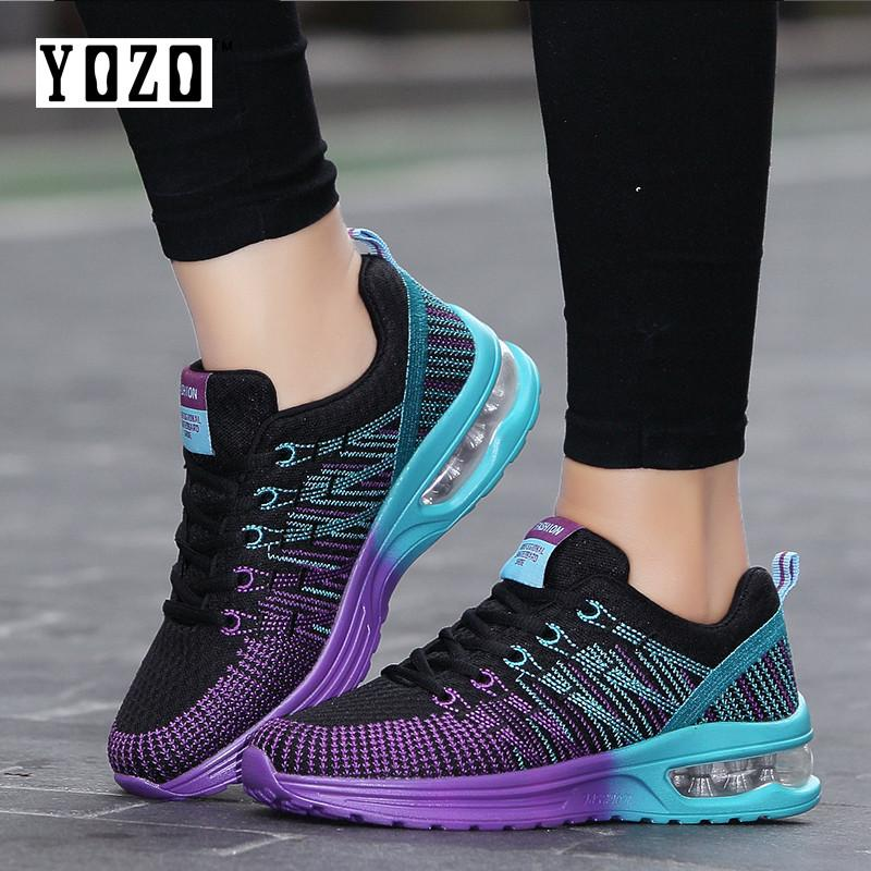 wholesale dealer c3121 1e7e2 YOZO Sneakers Flying Woven Breathable Women Shoes Air Cushion Sports Shoes  Running Shoes Women Footwear Outdoor Shoes