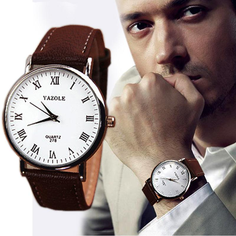 BPFAIR Luxury Fashion Faux Leather Mens Analog Watch Watches Brown Strap Free shipping