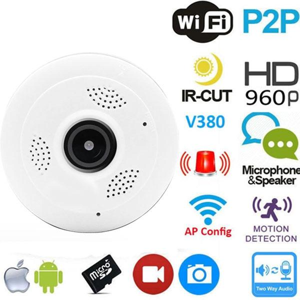 360 Degree Panoramic Wide Angle MINI CCTV Security Camera V380 Smart IP Camera Wireless Fisheye Lens 1080P Security Home Wifi IP Camera