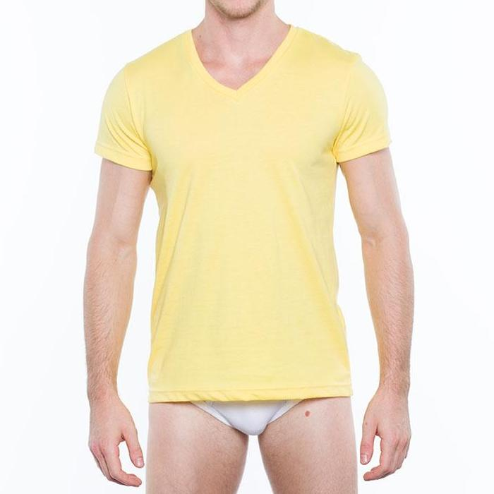 Hanford Men's V-Neck Short-Sleeved Shirt (Yellow Cream) (Single Pack) product preview, discount at cheapest price