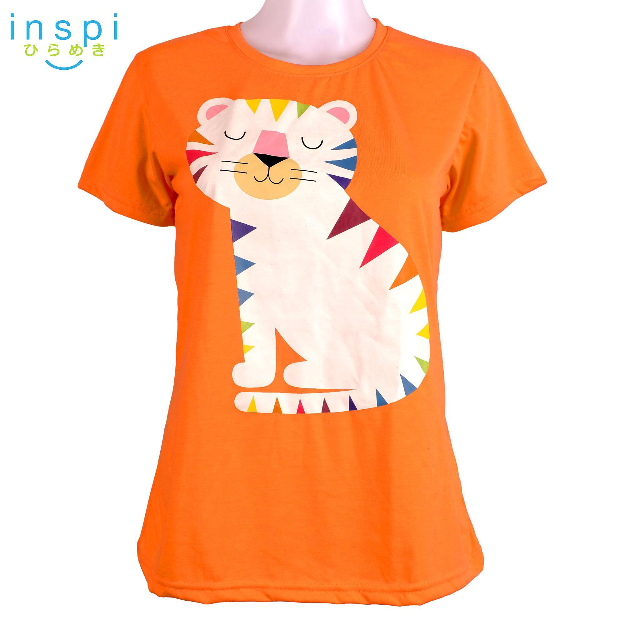 INSPI Tees Ladies Loose Fit Rainbow Cat (Orange) tshirt printed graphic tee  t shirt shirts tshirts for Women womens sale  88153f4284