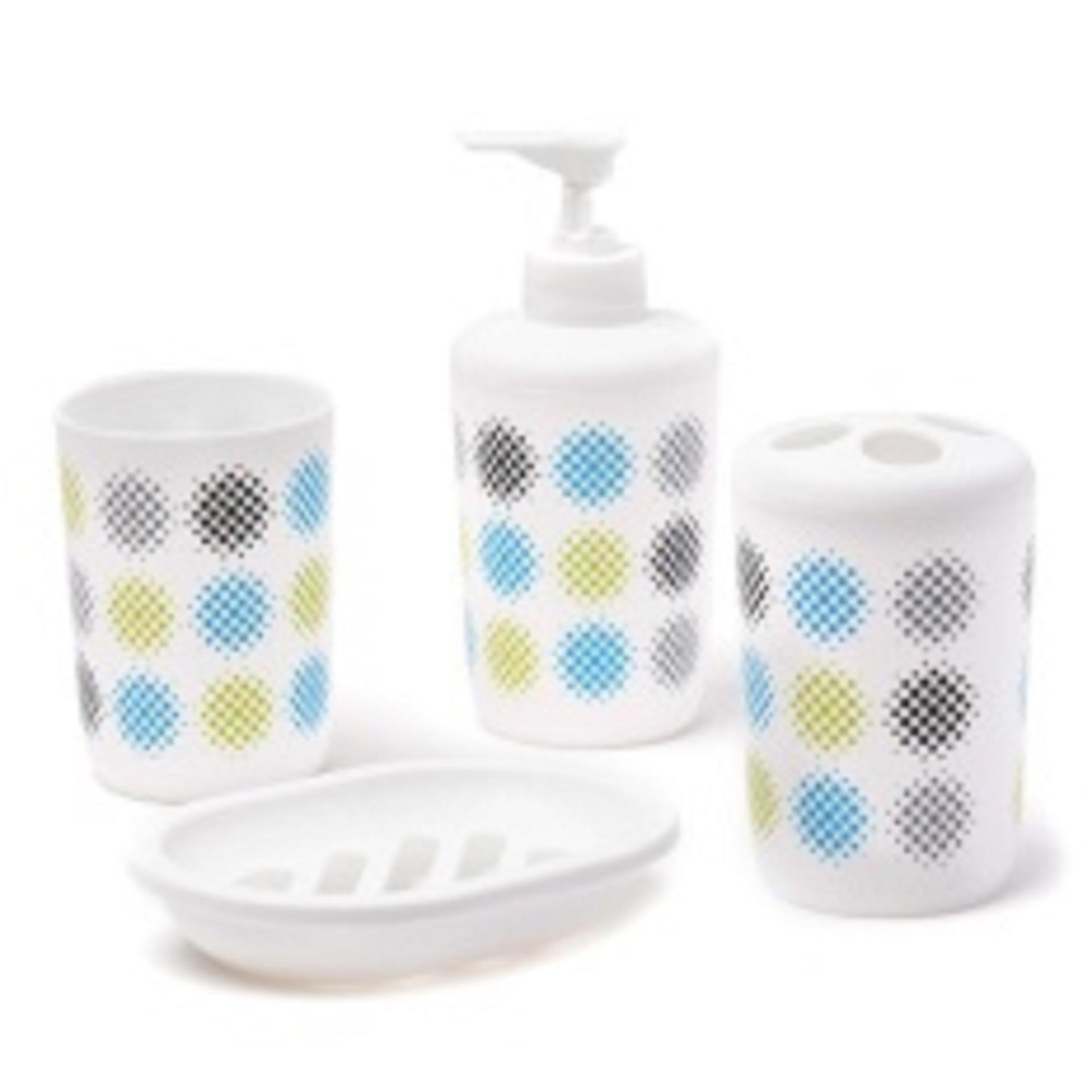 4-piece Aspire Aqua Serene Bathroom Essential Gift Set (Tumbler, Toothbrush Holder, Soap Holder, Lotion Dispenser) Aqua Serene