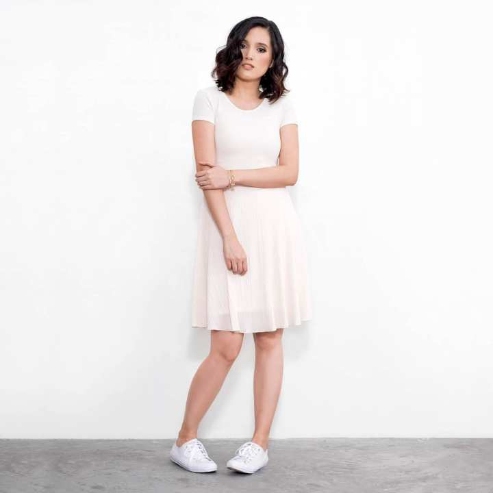 BLACK SHEEP Combination Skater Dress with Short Sleeves & Electric Pleated Skirt Panel in White