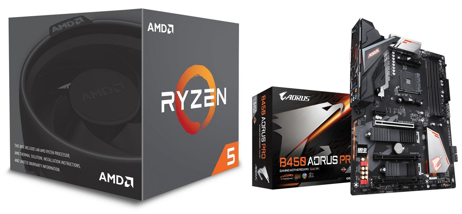 AMD Ryzen 5 2600 Processor with Wraith Stealth Cooler WITH GIGABYTE AMD  B450 AORUS PRO Motherboard