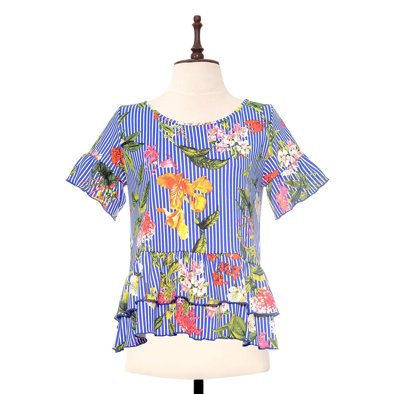 BLACK SHEEP Tropical Printed Top w/ Wrapped Hem in Blue