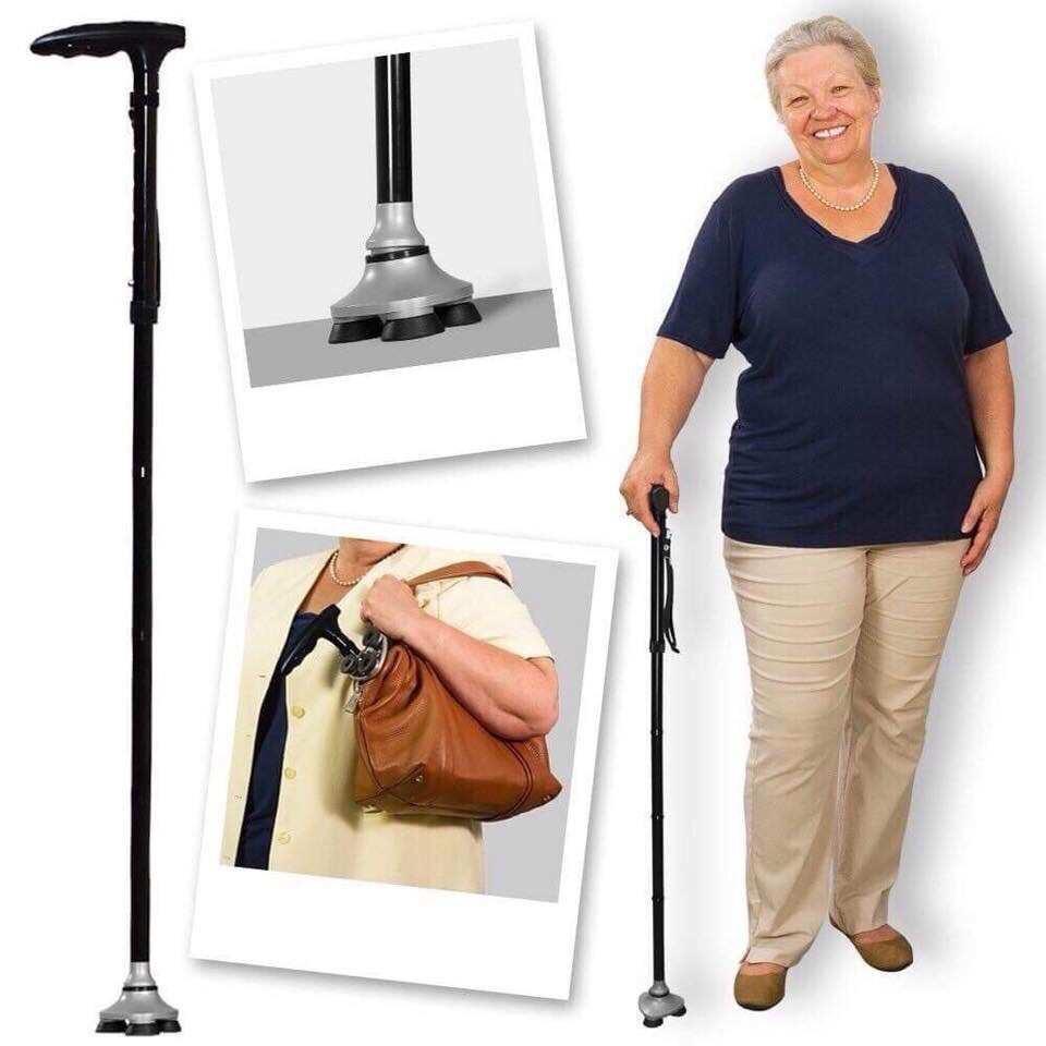 Adjustable Lightweight Aluminum Nonslip Folding Walking Stick Cane Pole Black image