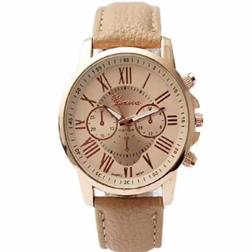 Geneva Women's Roman Beige Leather Strap Watch GRNBGE-1