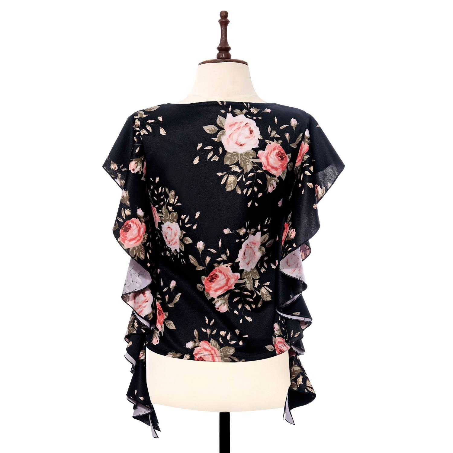 BLACK SHEEP Floral Top w/ Cascading Sleeves in Black