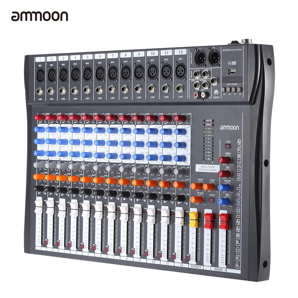 ammoon 120S-USB 12 Channels Mic Line Audio Mixer Mixing Console USB XLR Input 3-band EQ 48V Phantom Power with Power Adapter