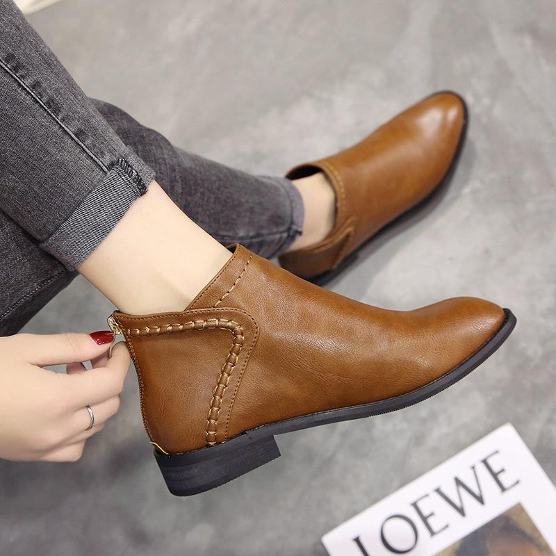2019 New Style Versatile Vintage Flat Short Boots England Martin Boots  women Autumn \u0026 Winter Korean Style Short Ankle Boots Students