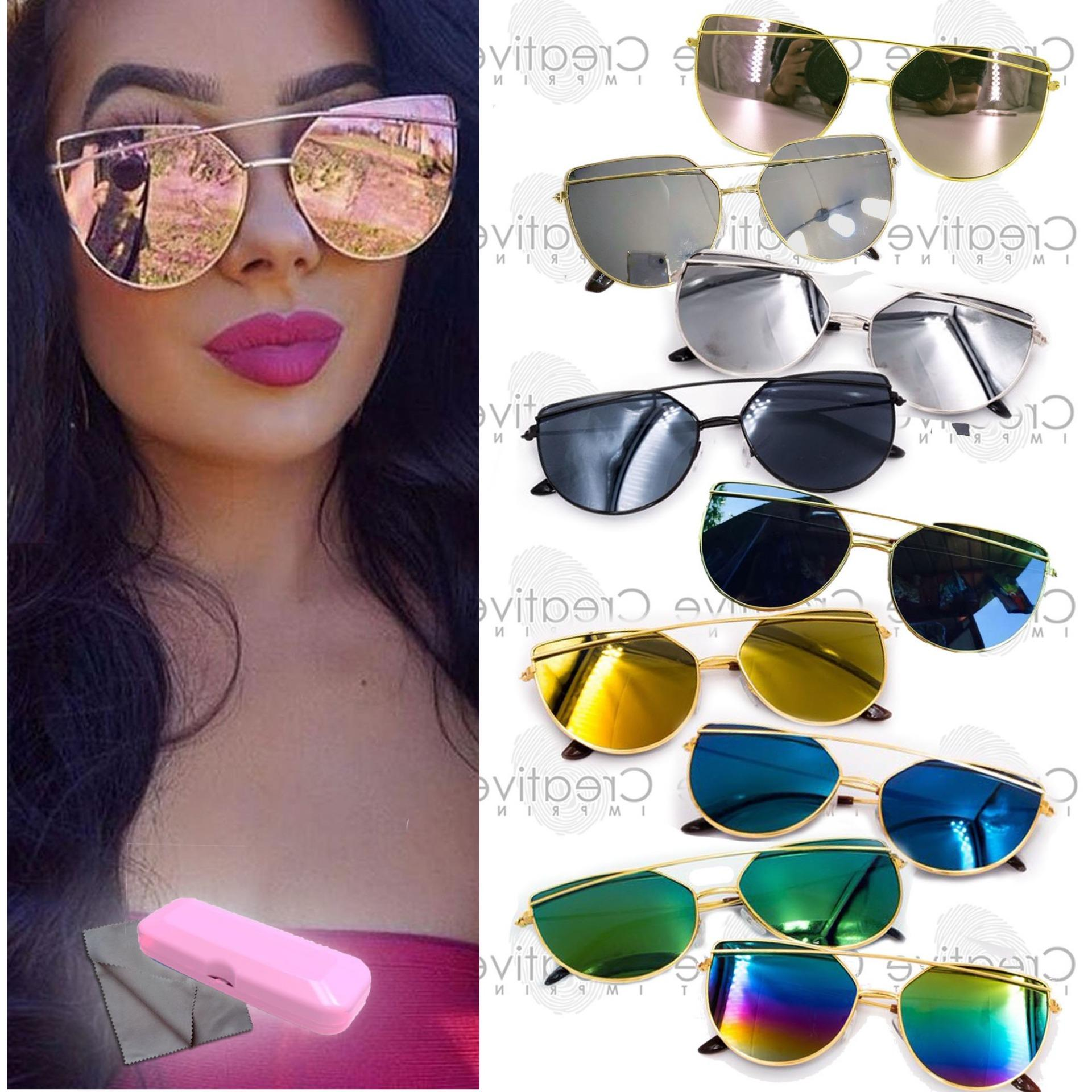 20115cb0637b Double Bridge Cat Eye Flat Sunnies Sunglasses (FREE CASE WIPER ...