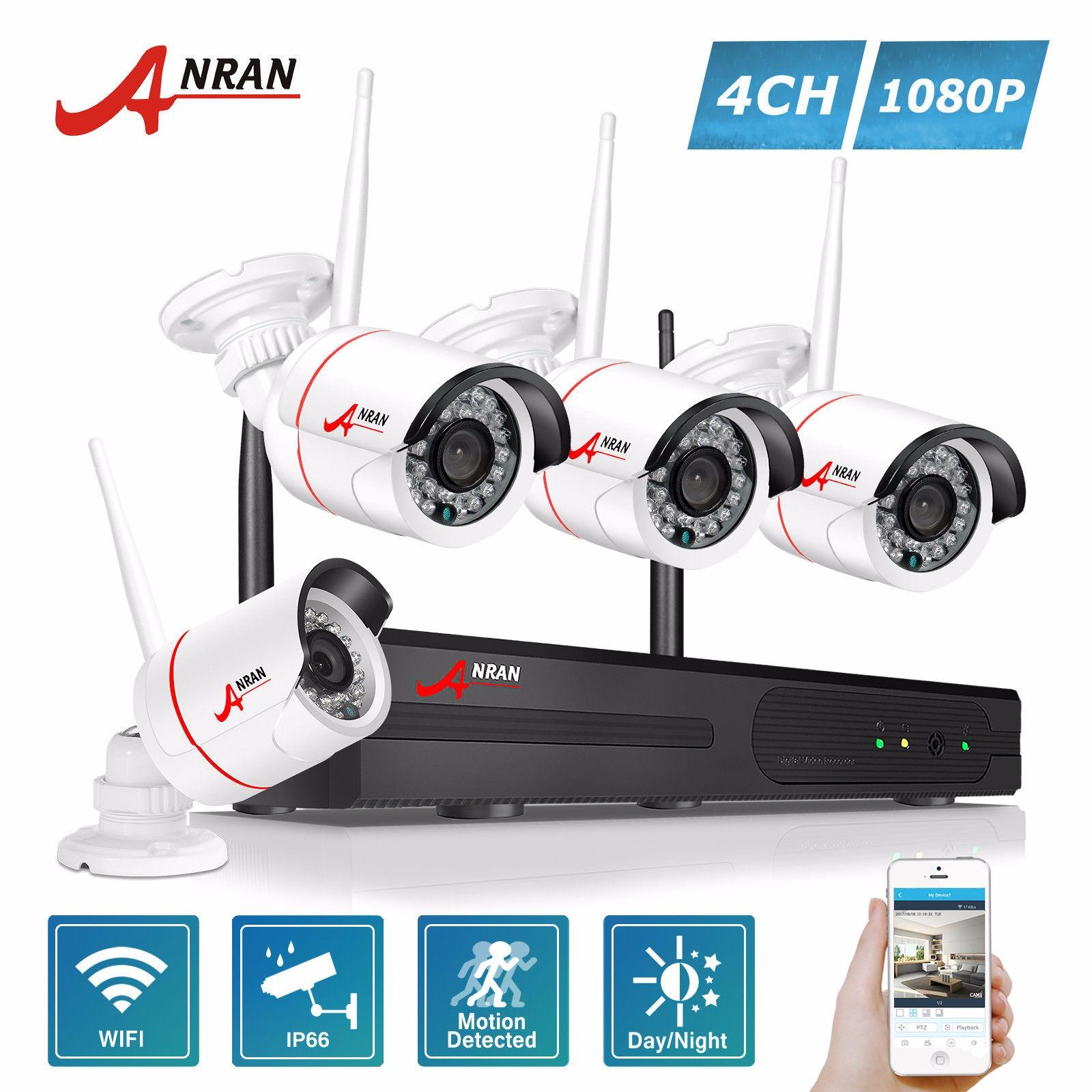 ANRAN 4CH WIFI Network NVR Wireless Security System with 4 pcs 1080P Watrproof Outdoor IP Camera Easy Remote Acess Plug Play