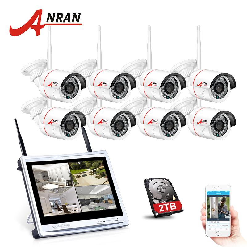 ANRAN 8CH Wireless Surveillance System 12 LCD Screen Wifi NVR 960P HD H.264 Outdoor Night Vision Security Camera System