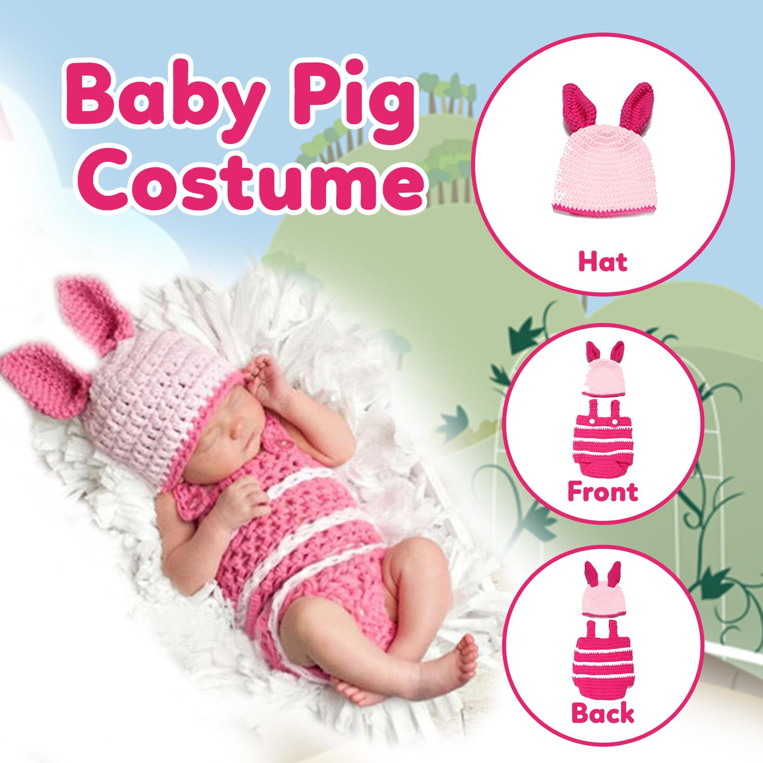 ab23361b8164e Baby Crochet Pink Pig Animal Costume Cosplay Clothing Sets Hand-Knitted  Newborn Handmade Toddler Infant Baby Boys and Girls Knitting Cute Props ...