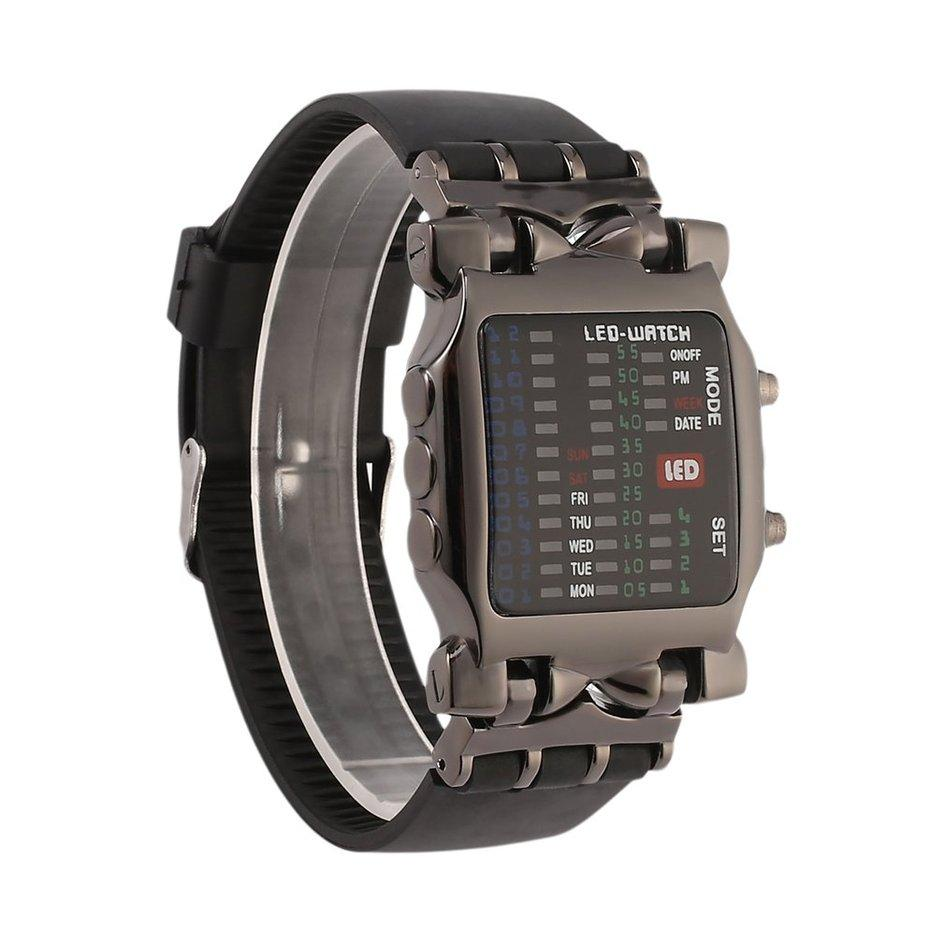 OH New Unisex Square Style Cool Colorful LED Digital Watch Binary Wrist Black - Intl