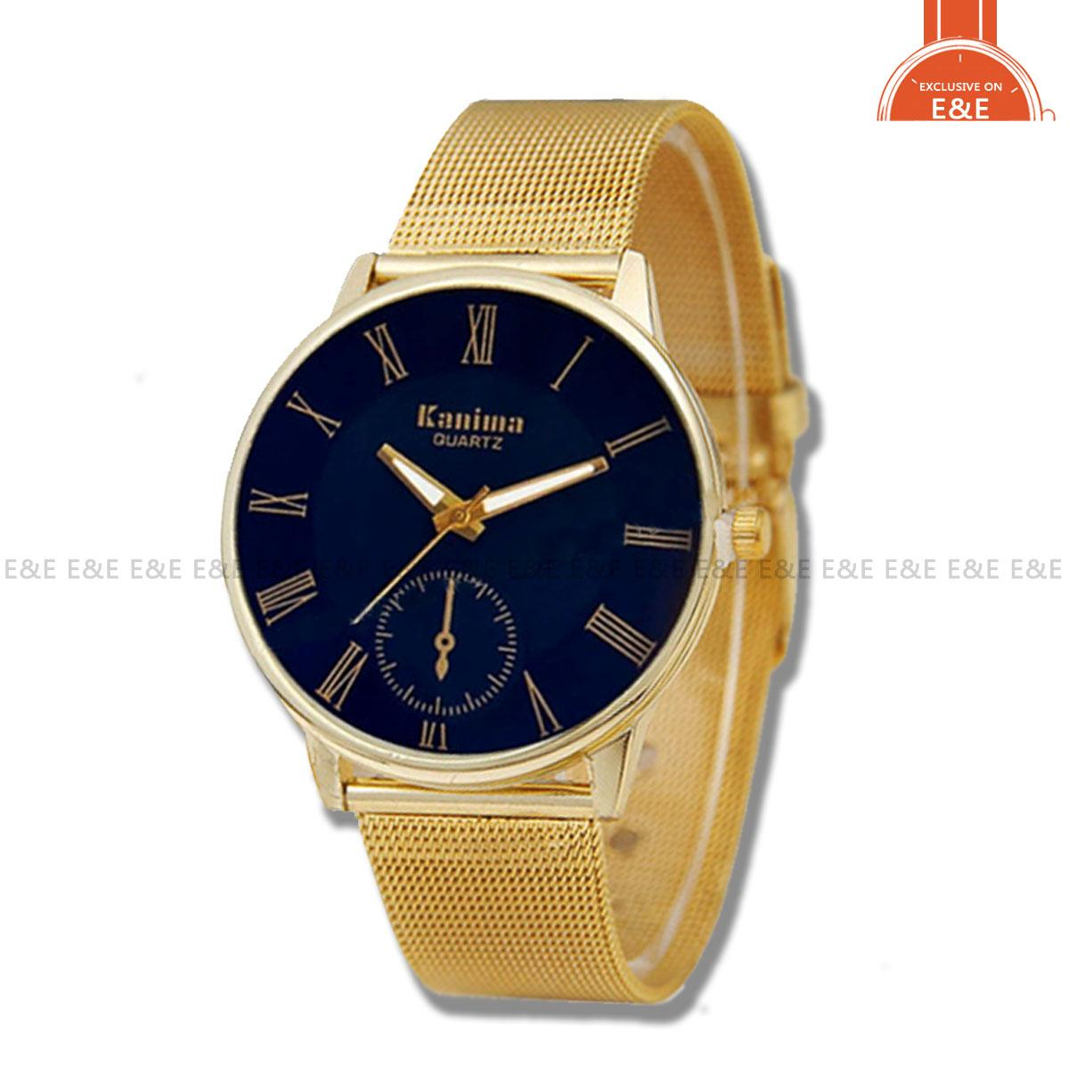 SYNOKE 511 Fashion Mens' Watch Gold Steel-belt Quartz Blue Glass Wristwatch