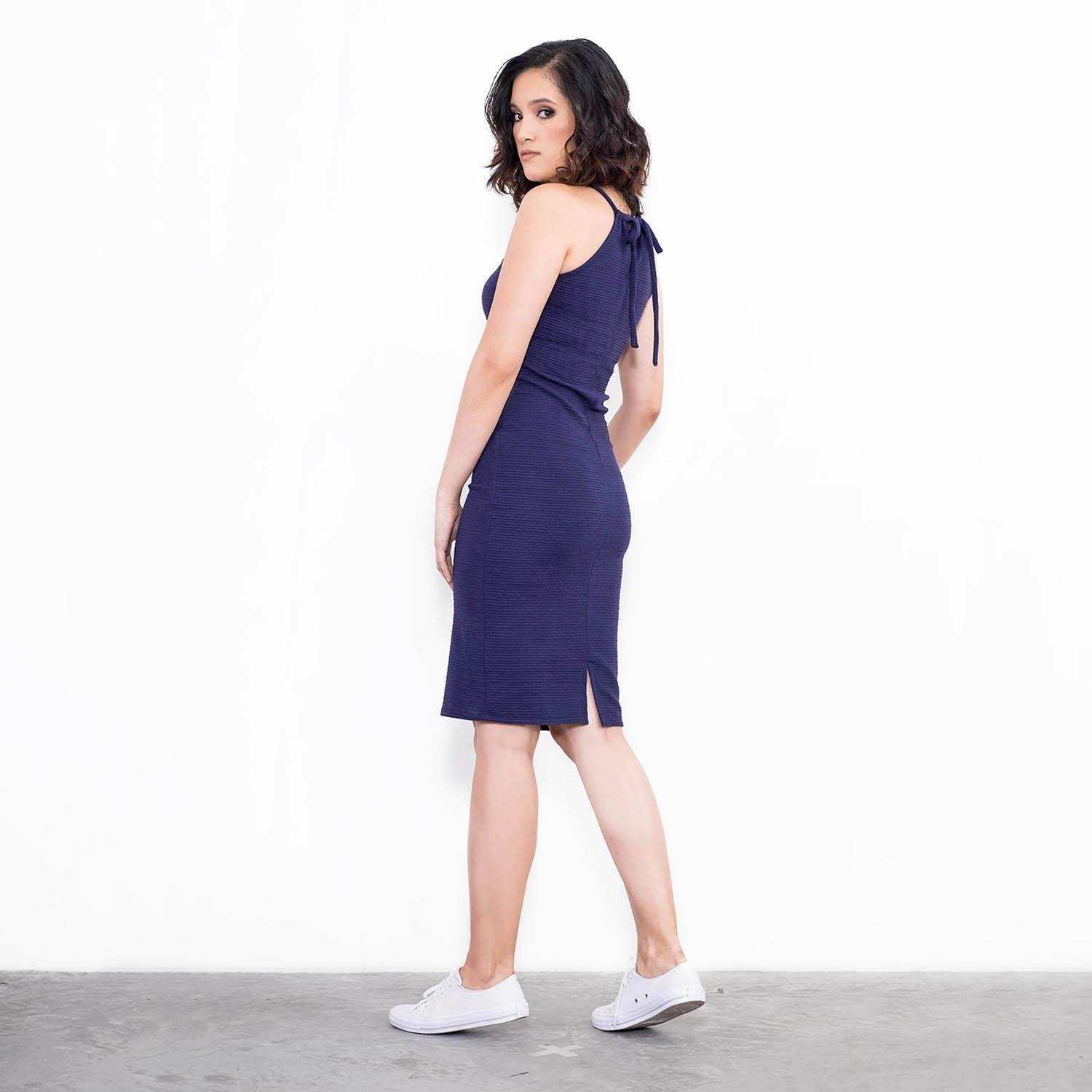 BLACK SHEEP Fitted Halter Dress in Textured Knit in Blue