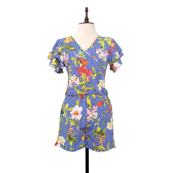 BLACK SHEEP Tropical Print Surplice Romper w/ Ruffled Sleeves in Blue