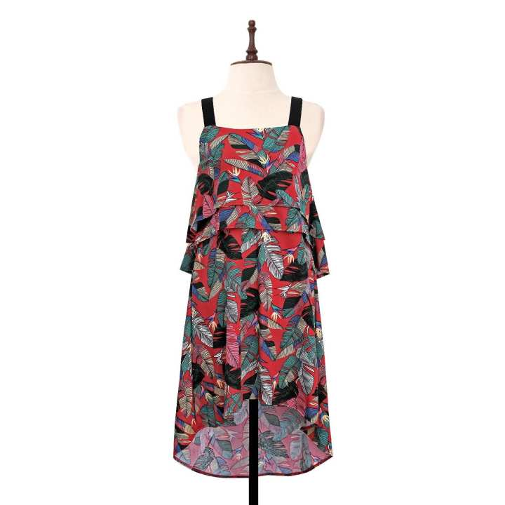BLACK SHEEP Palm Print layer Flounce Dress w/ Wide Straps in Maroon