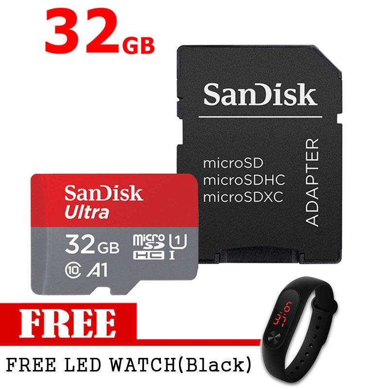 SanDisk Ultra (32GB) MicroSDHC UHS-I Class1 0 U1 A1 App Performance Memory Card with SD Adapter With Free LED WATCH (Black)