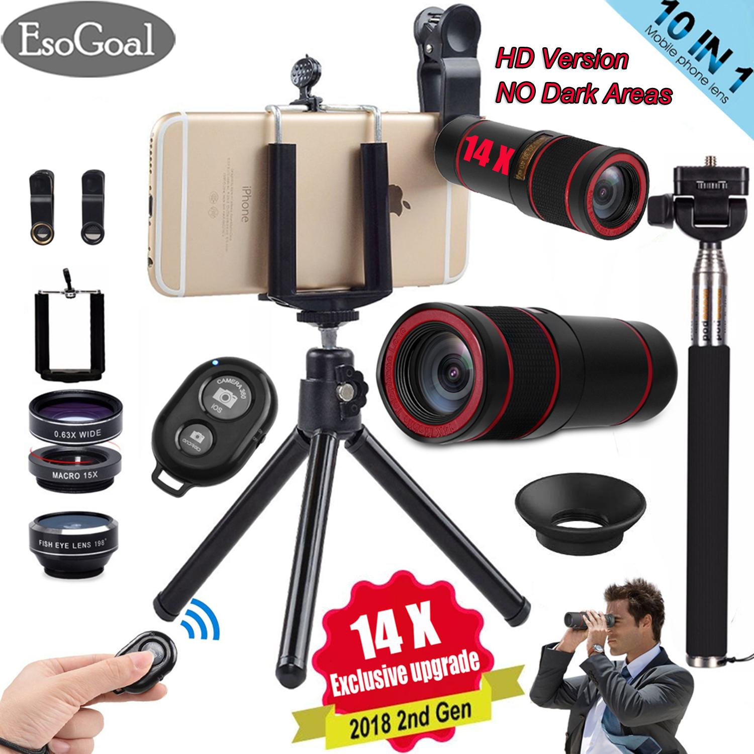 EsoGoal Updated 10 in 1 14x Zoom Telephoto Lens + Fisheye + Wide Angle + Macro Lens + Selfie Stick Monopod + Bluetooth   Remote Control + Mini Tripod with Phone Holder for Mobile Phones