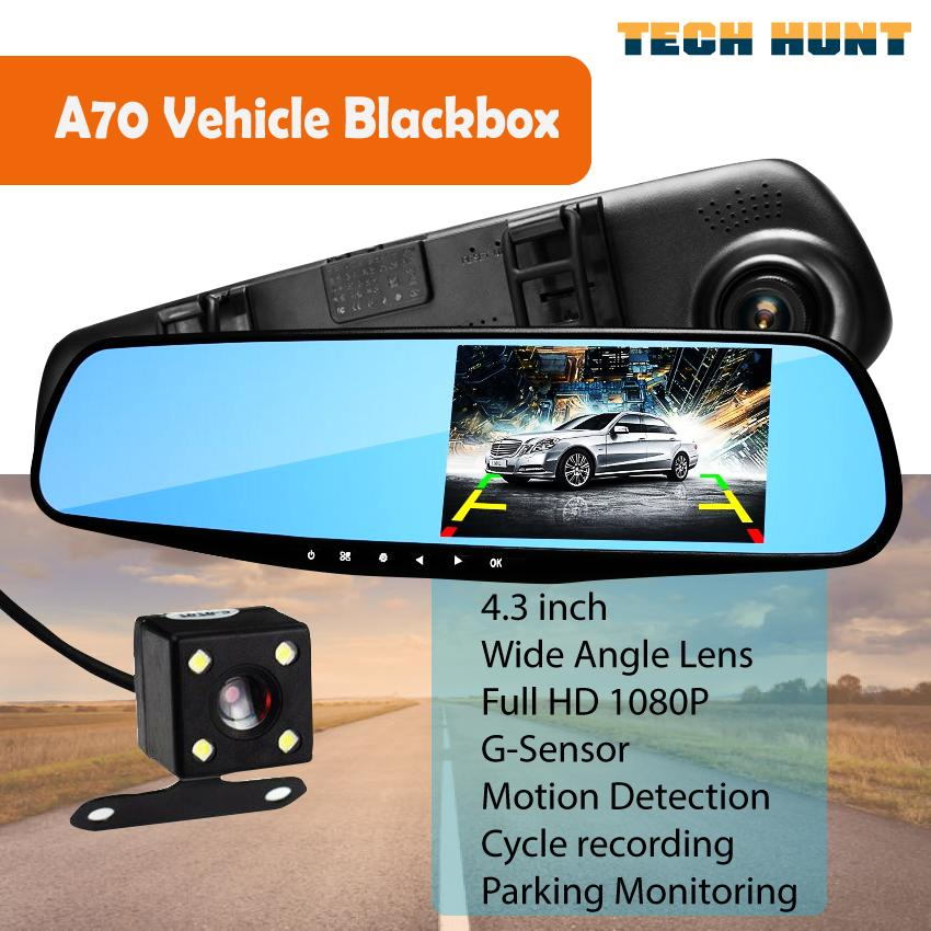 A70 FHD 1080P Car DVR Double lens Car camera rearview mirror Video Recorder Dash cam Auto Blackbox Night Vision G-Sensor D208