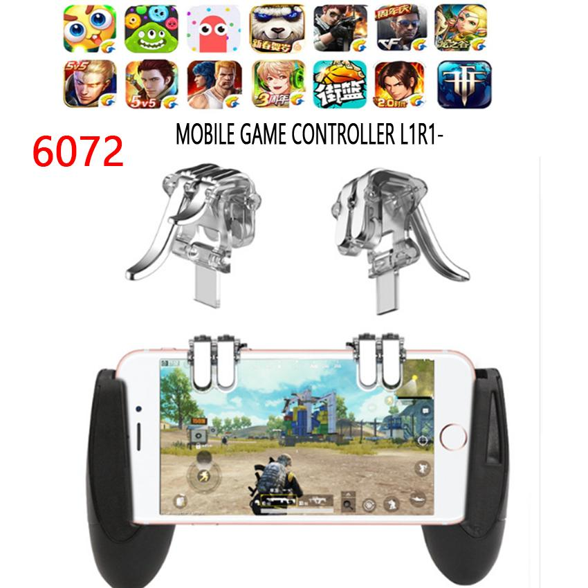 6072-For PUBG STG FPS Gamepad Game Trigger Cell Phone Mobile Controller Fire Button L1R1 Aim Key Joystick for iphone Xiaomi