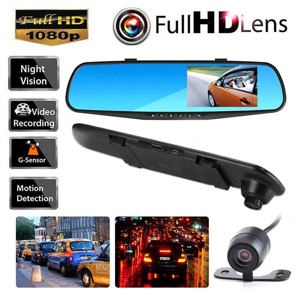 4.3 Inch HD 1080P Car DVR Dash Camera Dual Lens Cam Video Recorder Night Vision G-sensor