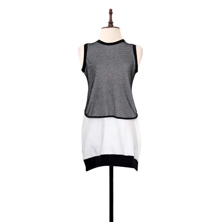 BLACK SHEEP Sleeveless Knit & Mesh Dress Combi in Black & White