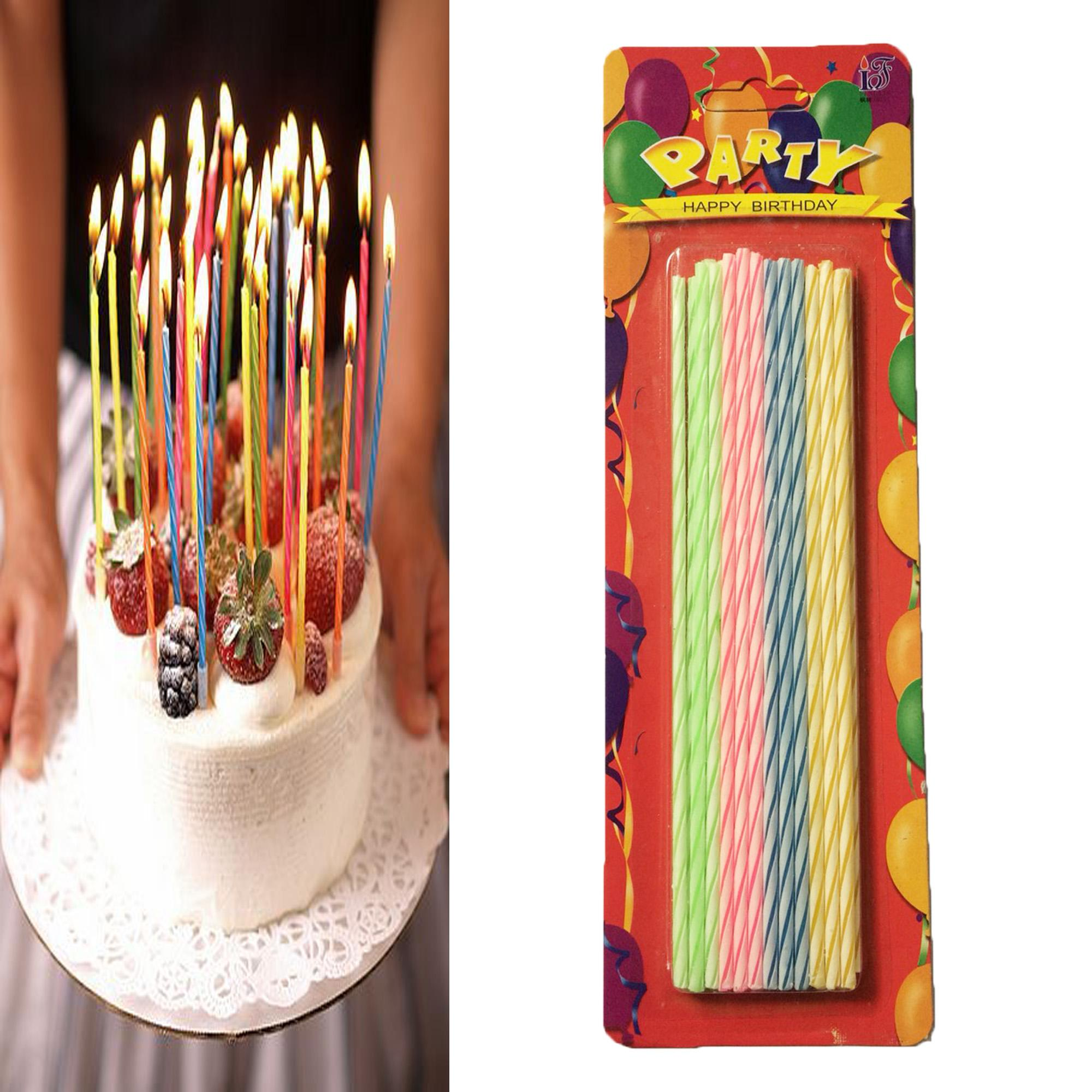 Happy Birthday Candle Cake Cupcake Topper Thin Long Candle 35g image