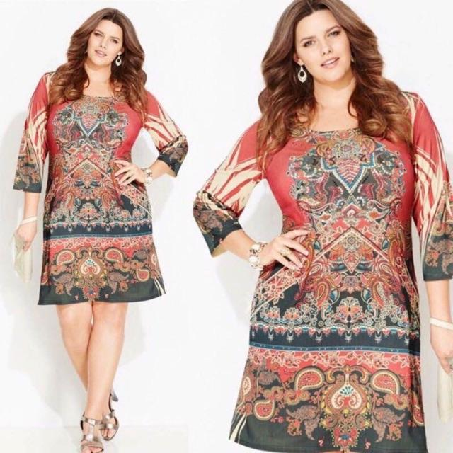 D A C Vintage print plus size dress