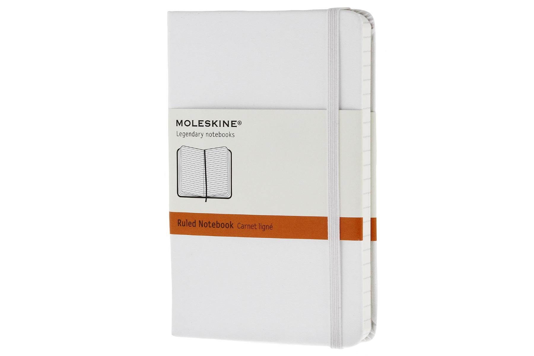 Moleskine Classic Hard Cover Ruled Notebook (White)