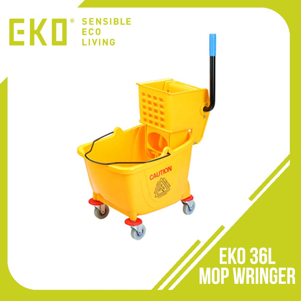Eko 36L Professional Mop Wringer Single Down Press (Yellow) - With built in hygienic wave breaking corners in the bucket to reduce splashing of dirty water up to 40%.Higher back for more comfortable wringing; lower front for easier placing of mop head.