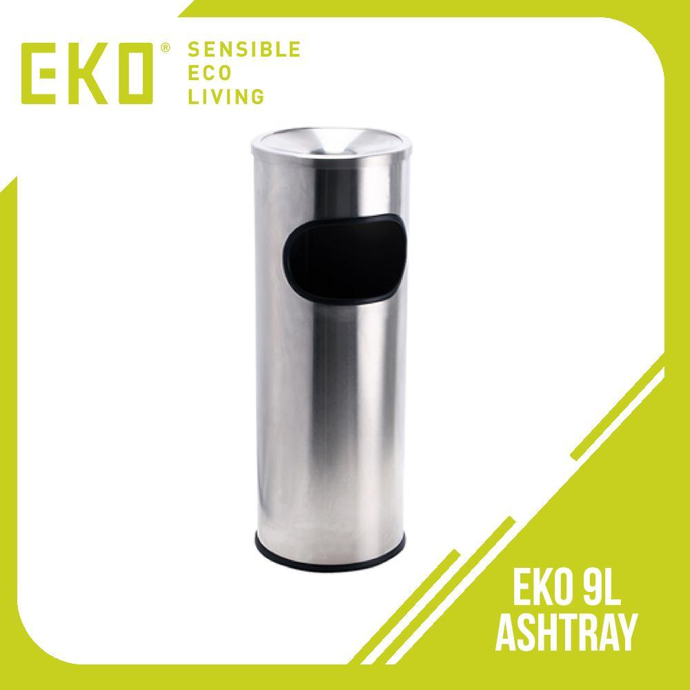 Eko 9L. Ashtray Trash Bin (Silver) - for designated smoking areas and lounges with Ash Urn, weather resistant. Best quality stainless steel that deters vandalism, graffiti, anti fire. Hygienic trash collection and recycling bin. Easy disposal of cigarette