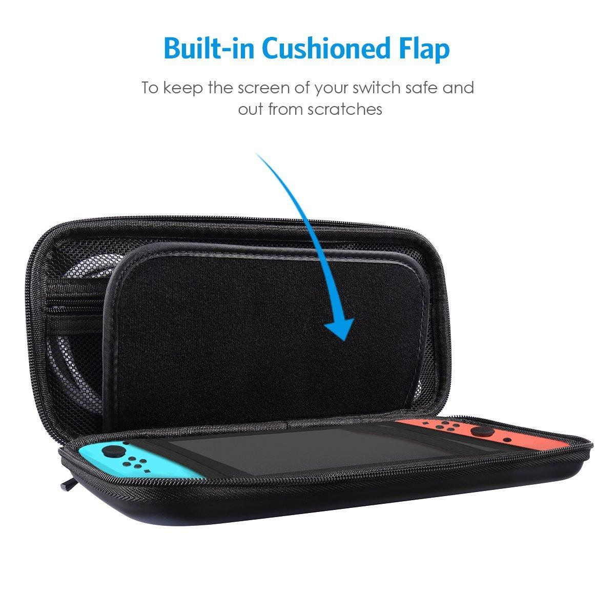 Nintendo Switch Case - Protective EVA Hard Shell - Travel Carrying Case Pouch for Nintendo Switch, 10 Game Cartridges, Accessories, Black